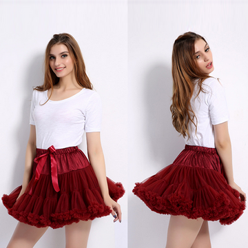 Modakawa Skirt Casual Mesh Pleated Short Skirt
