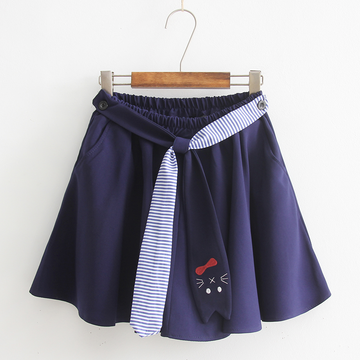 Modakawa Skirt Cat Tie High Rise Pull-On Skirt