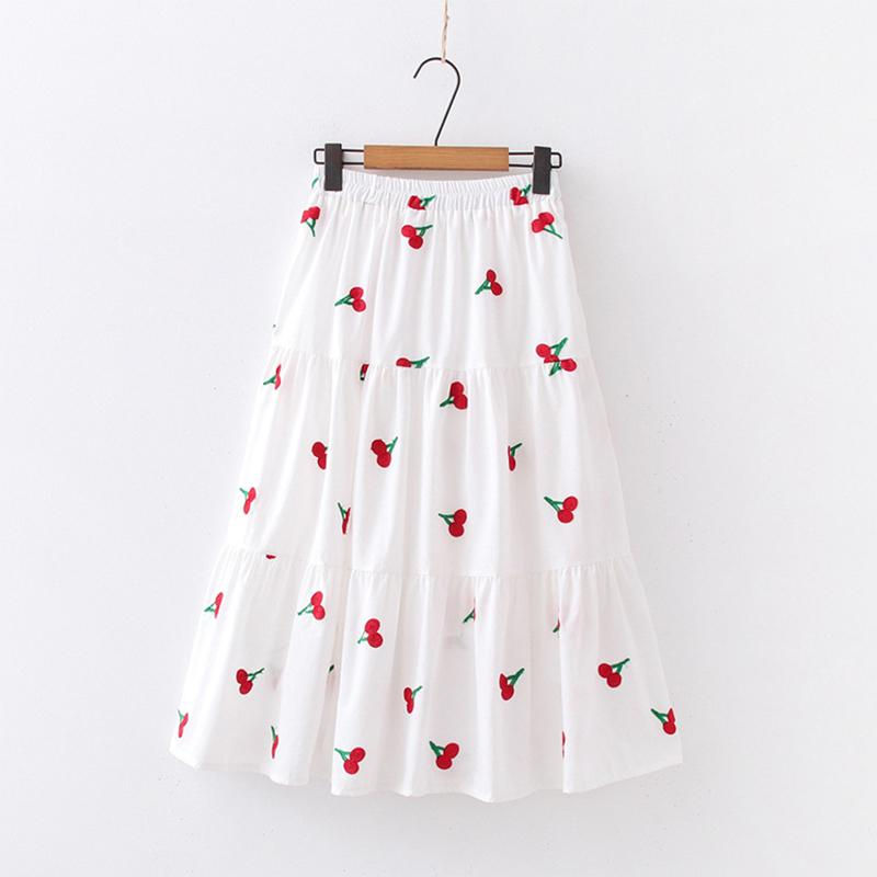 Modakawa Skirt Cherry / One Size Cherry Strawberry Pineapple Embroidery A-line Pleated Skirt
