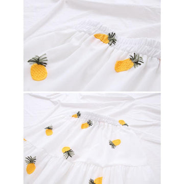 Modakawa Skirt Cherry Strawberry Pineapple Embroidery A-line Pleated Skirt