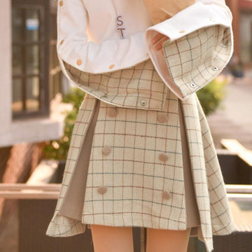 Modakawa Skirt Chic Plaid High Rise Winter Skirt
