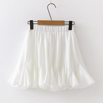 Modakawa Skirt Chiffon Drawstring Pleated Ruffle Pure Color Skirt