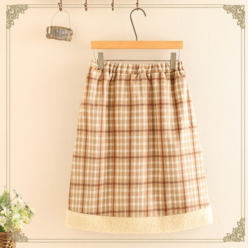 Modakawa Skirt Cute Bear Lace Up Elastic Waist Plaid Skirt