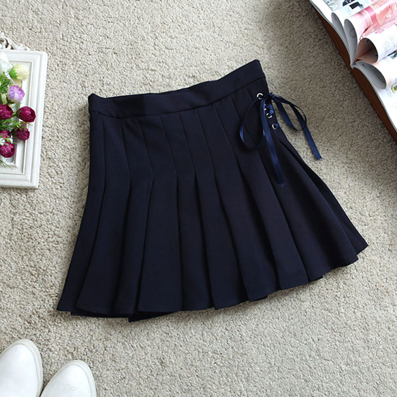 Modakawa Skirt Dark Blue / S Pure Color High Waist Pleated Skirt