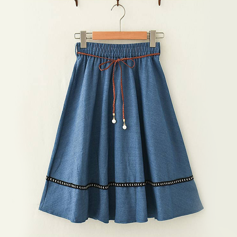 Modakawa Skirt Dark Blue Vintage Mori Girl Denim Skirt