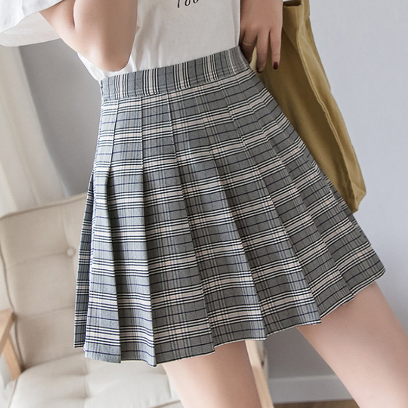 Modakawa Skirt Dark Gray / S High Waist Plaid Pleated Skirt
