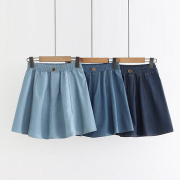 Modakawa Skirt Elastic Waist Denim Short Skirt