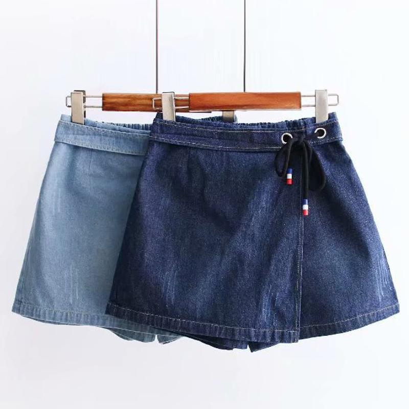 Modakawa Skirt Elastic Waist Lace Up Denim Skirt Shorts