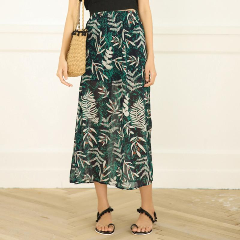 Modakawa Skirt Flower Print Chiffon Beach Vacation Skirt