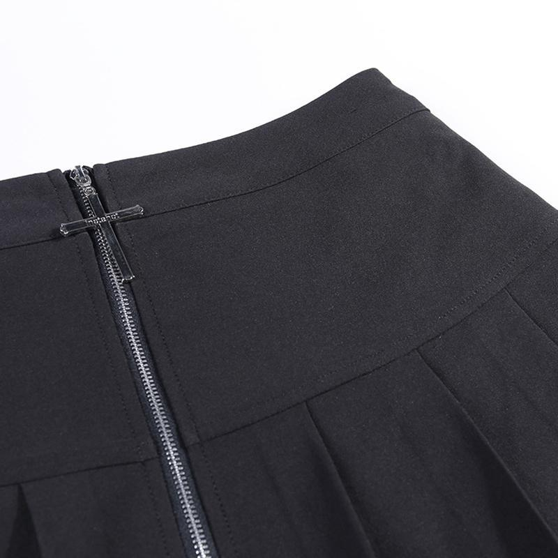 Modakawa Skirt Gothic Metal Zipper Cross Pleated Skirt