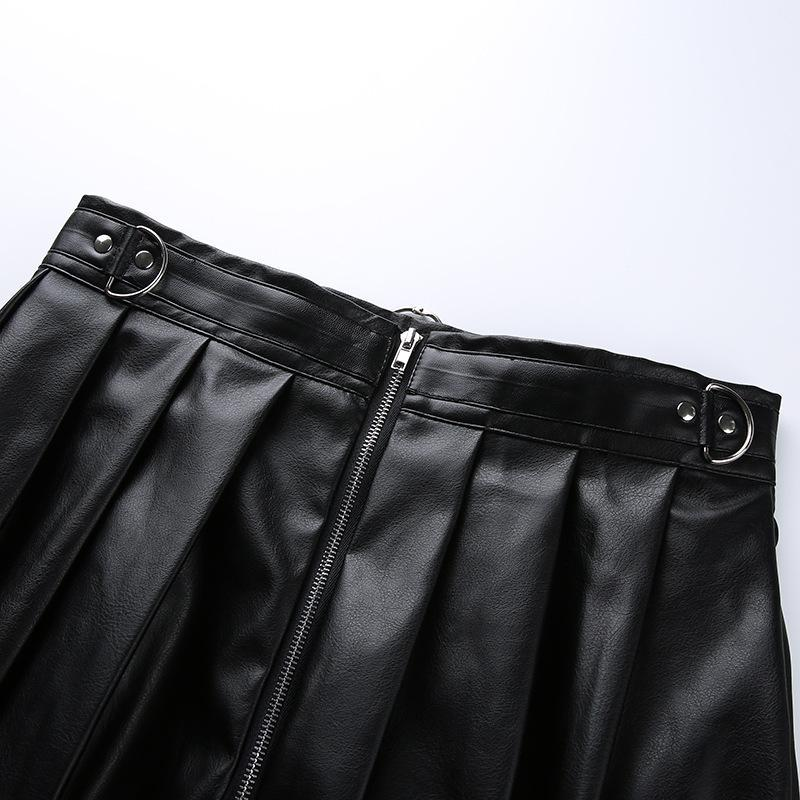 Modakawa Skirt Gothic PU Ring Zipper A-line Pleated Skirt