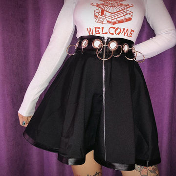 Modakawa Skirt Gothic Zipper Ring Hollow Out Short Skirt