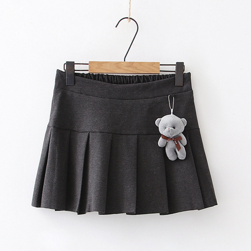 Modakawa Skirt Gray / One Size Bear Accessory Elastic Waist Pleated Mini Skirt