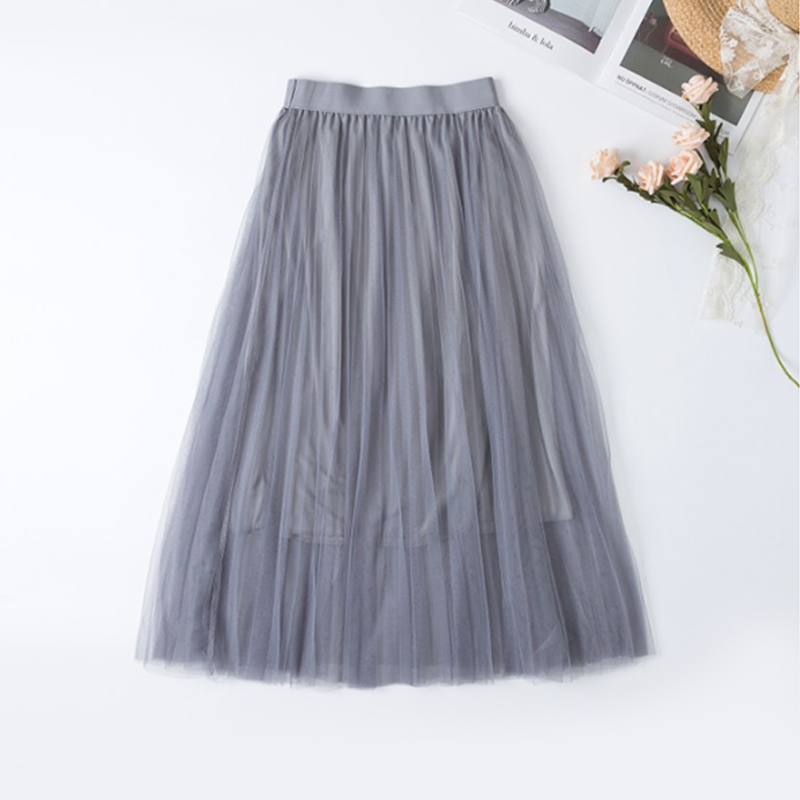 Modakawa Skirt Gray Pure Color Mesh Pleated Skirt