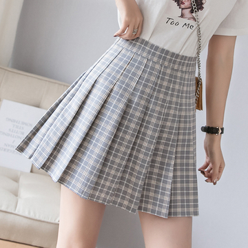 Modakawa Skirt Gray / S High Waist Plaid Pleated Skirt