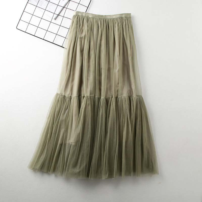 Modakawa Skirt Green High Waist A-Line Tulle Skirt