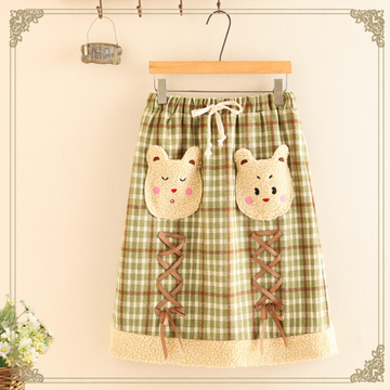 Modakawa Skirt Green / One Size Cute Bear Lace Up Elastic Waist Plaid Skirt