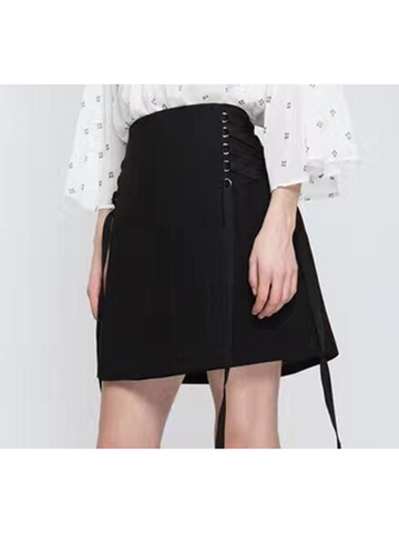 Modakawa Skirt High Waist A-Line Short Skirt Pure Color Bow Knot