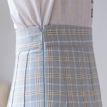 Modakawa Skirt High Waist Plaid Pleated Skirt