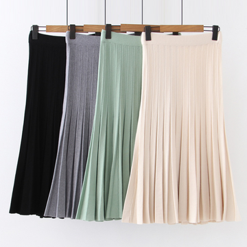Modakawa Skirt High Waist Pure Color Pleated Skirt