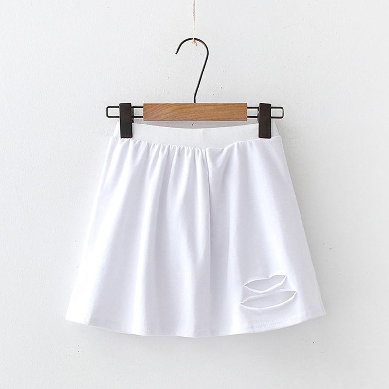 Modakawa Skirt Hollow / One Size Embroidery Slit White Base Short Skirt