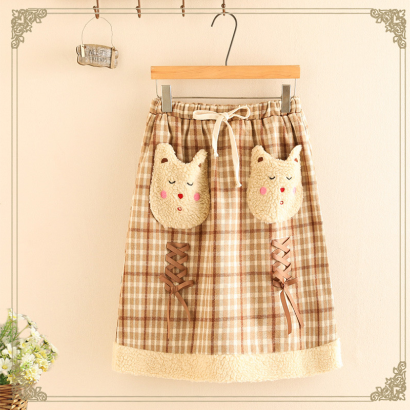 Modakawa Skirt Khaki / One Size Cute Bear Lace Up Elastic Waist Plaid Skirt