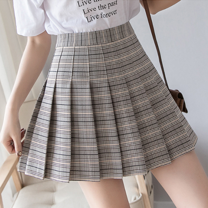 Modakawa Skirt Khaki / S High Waist Plaid Pleated Skirt