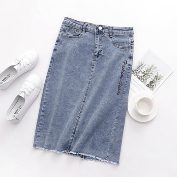 Modakawa Skirt Letter Embroidery Denim Split Skirt