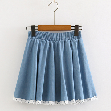 Modakawa Skirt Light Blue High Waist Lace Stitching Denim Skirt
