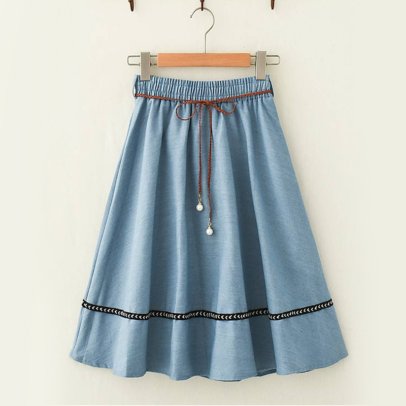Modakawa Skirt Light Blue Vintage Mori Girl Denim Skirt