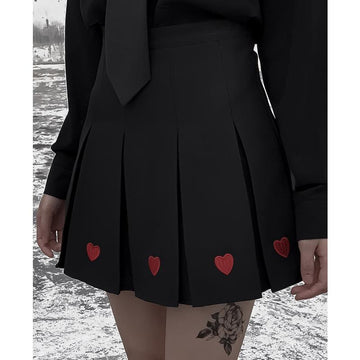 Modakawa Skirt Love Heart Embroidery Pleated Mini Skirt