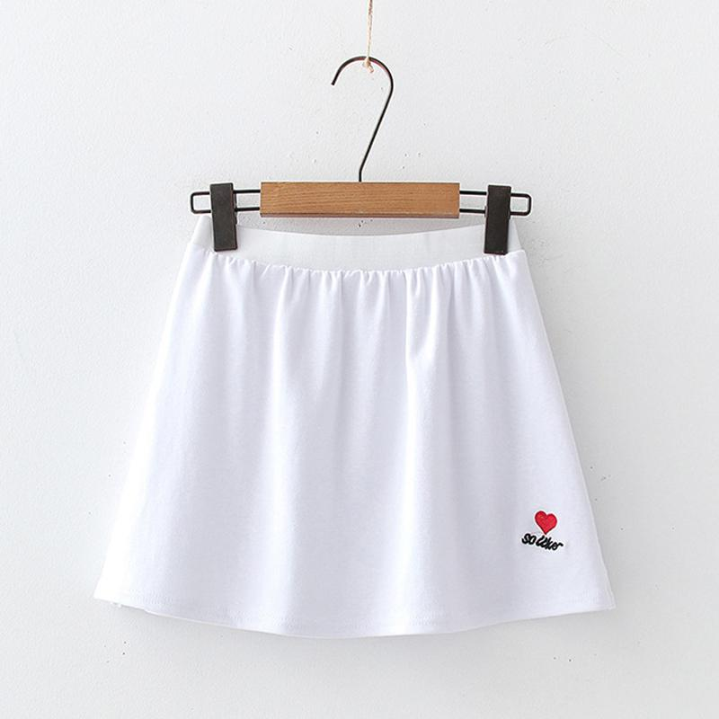 Modakawa Skirt Love Heart / One Size Embroidery Slit White Base Short Skirt