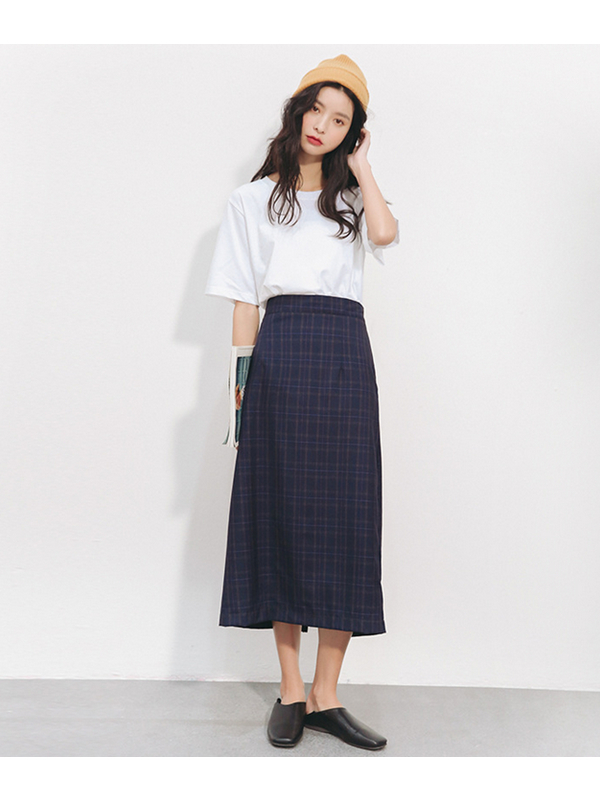 Modakawa Skirt M High Waist Plaid Split Skirt