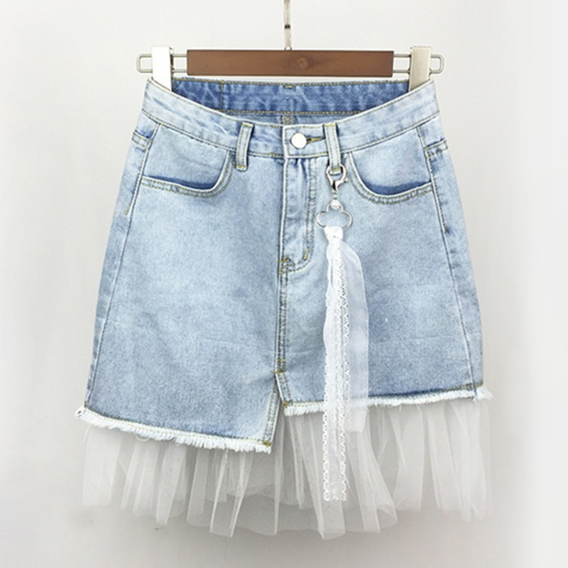 Modakawa Skirt Mesh Irregular Denim Skirt