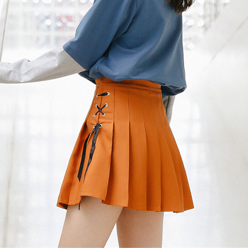 Modakawa Skirt Orange / S Short Pleated School Girl Skirts