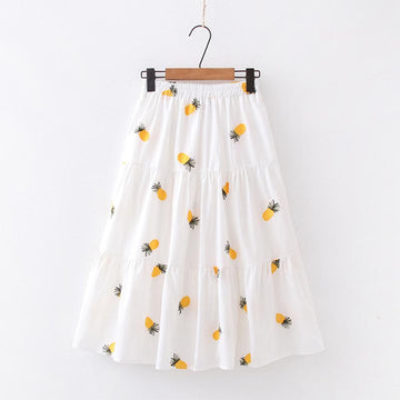 Modakawa Skirt Pineapple / One Size Cherry Strawberry Pineapple Embroidery A-line Pleated Skirt