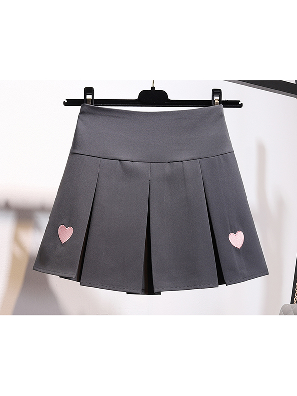 Modakawa Skirt Pink / S Heart Embroidery A-Line Pleated Skirt