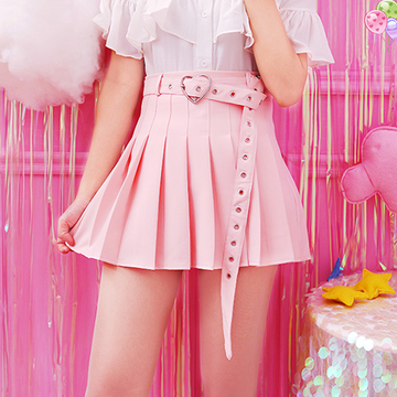 Modakawa Skirt Pink / S High Waist Pleated A-Line Skirt