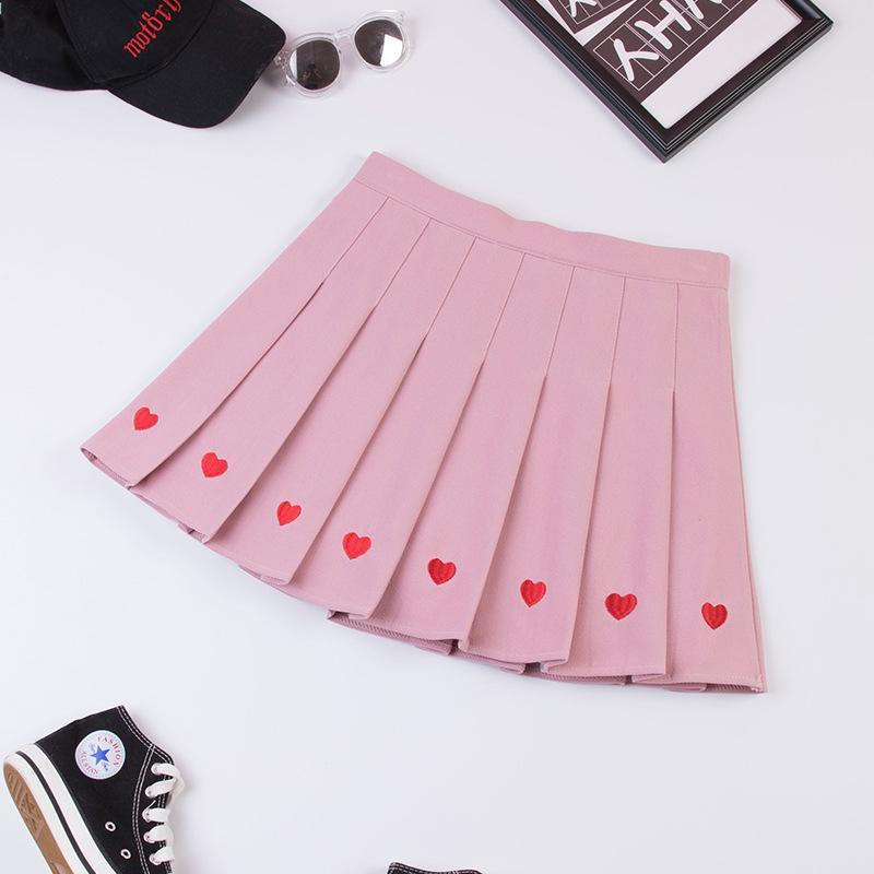 Modakawa Skirt Pink / S Love Heart Embroidery Pleated Mini Skirt