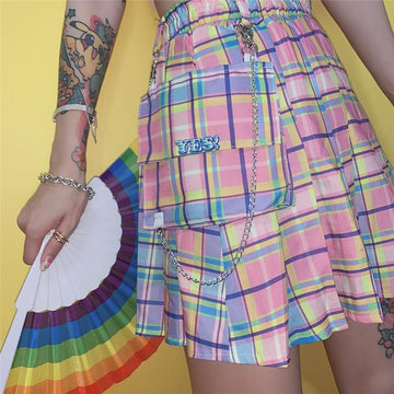 Modakawa Skirt Pink / S Plaid Chain Pocket High Waist Pleated Short Skirt