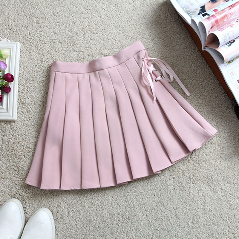 Modakawa Skirt Pink / S Pure Color High Waist Pleated Skirt
