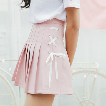 Modakawa Skirt Pink / S Short Pleated School Girl Skirts