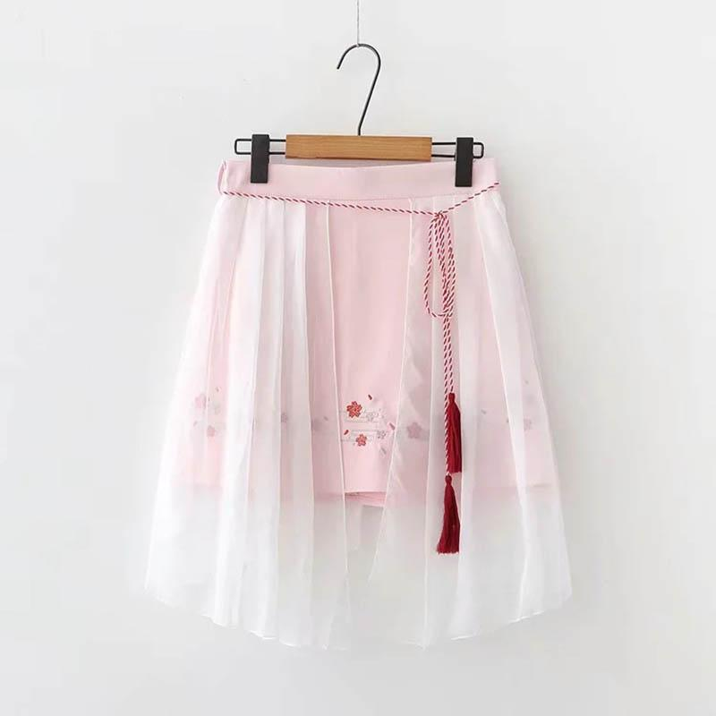 Modakawa Skirt Pink / S Sweet Flower Embroidery Tassels Tulle Skirt