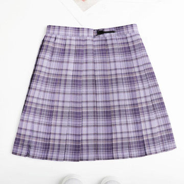 Modakawa Skirt Plaid JK Uniform High Waist Pleated Short Skirt