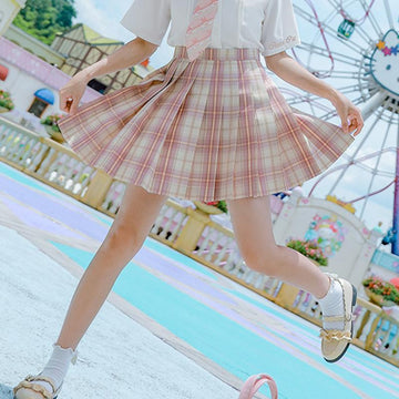 Modakawa Skirt Plaid JK Uniform Pink A-line Pleated Skirt