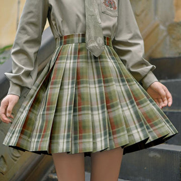 Modakawa Skirt Plaid JK Uniform Pleated Short Skirt