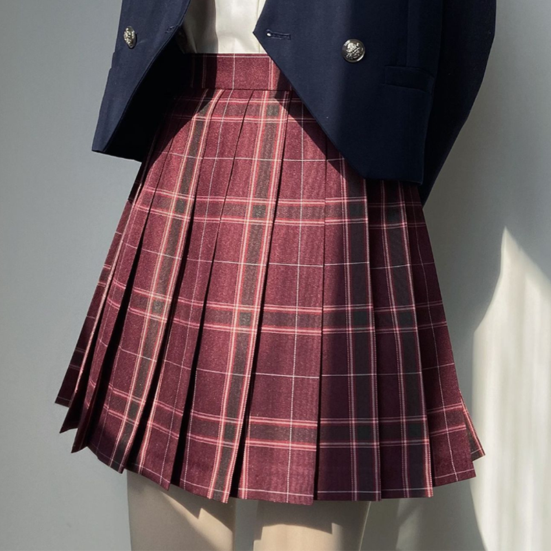 Modakawa Skirt Plaid Pleated College Style Japanese JK Skirt
