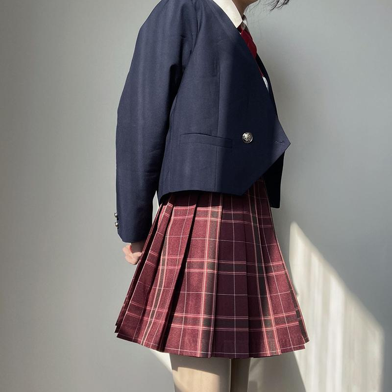 Modakawa Skirt Plaid Pleated College Style Japanese JK Skirt Red