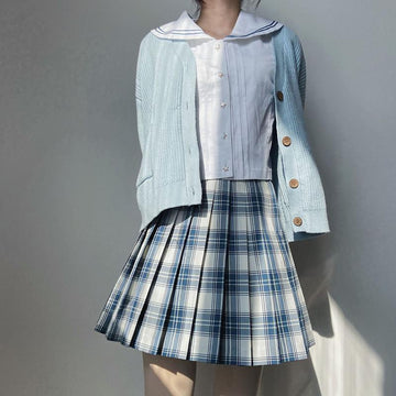 Modakawa Skirt Plaid Pleated High Waist Skirt College Style Japanese JK