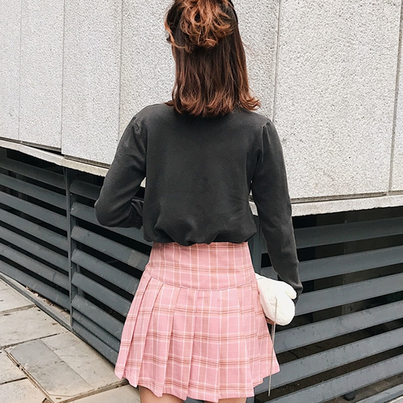 Modakawa Skirt Plaid Pleated Skirt